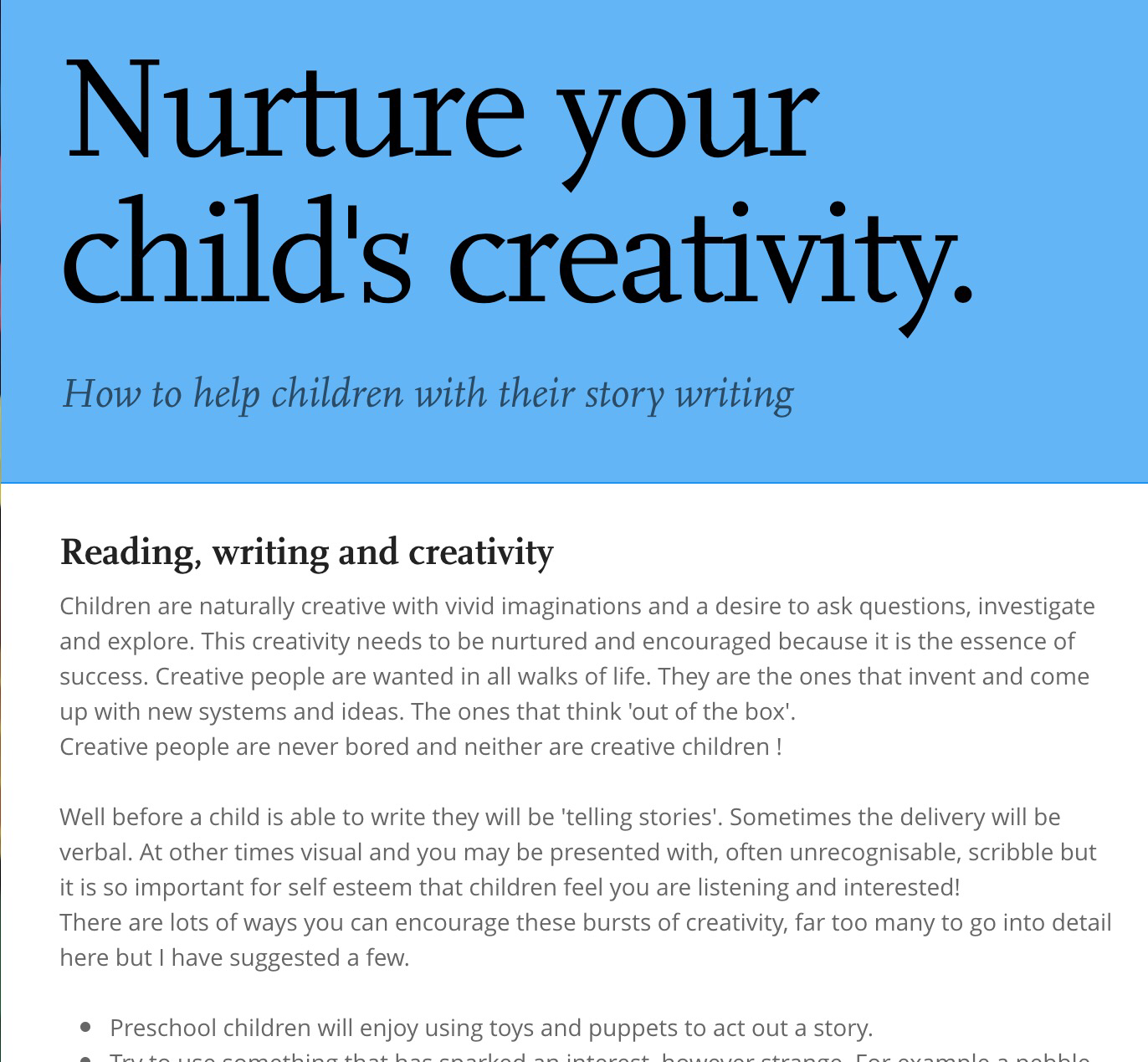 Nurture your child's creativity. | – Creative Learning for ...